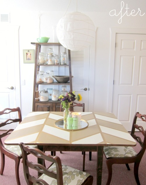 before and after: chevron dining table
