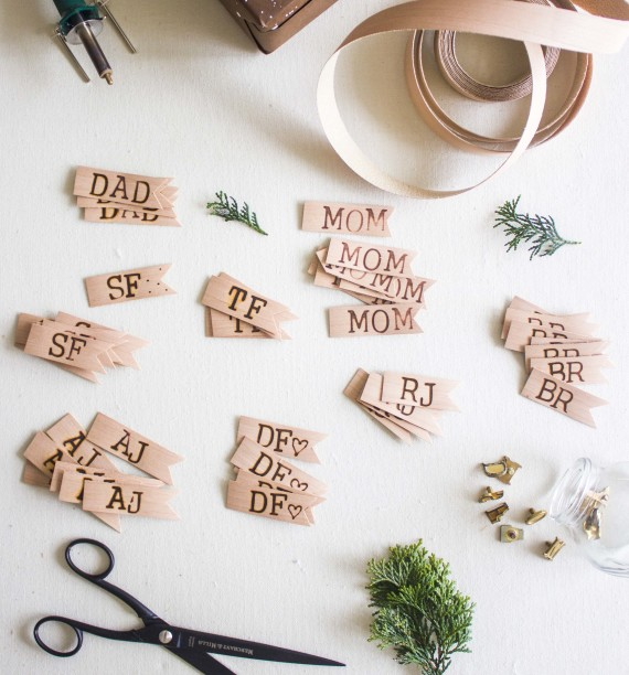 diy speckled gift wrap + wood burned gift tags (7)