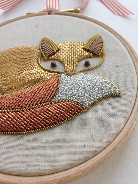 metalwork fox embroidery by becky hogg